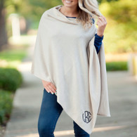 Creme Chelsea Pashmina Poncho with Embroidered Monogram