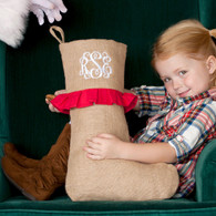 Rustic Burlap Christmas Stocking with Red Ruffle
