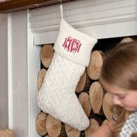 Creme Knit Christmas Stocking with Embroidered Monogram