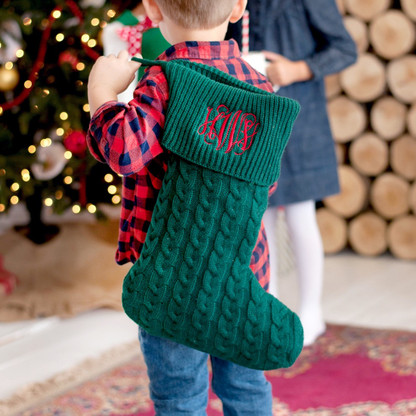 Hunter Green Knit Christmas Stocking with Embroidered Monogram