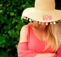 Monogram Pom Pom Floppy Hat