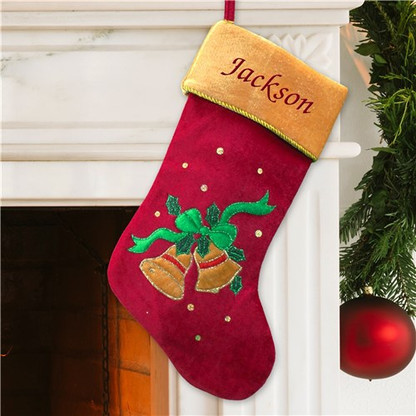 Personalized Christmas Bells Design Stocking