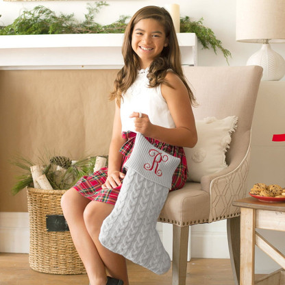 Grey Cable Knit Christmas Stocking with Embroidered Monogram