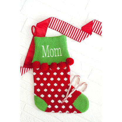 Personalized Red Dot Pom-Pom Christmas Stocking