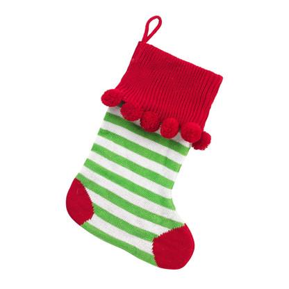 Green Stripes Pom Pom Christmas Stocking