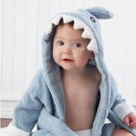 "Hooded Shark ""Let the Fin Begin"" Blue Terrycloth Baby Spa Bath Robe"