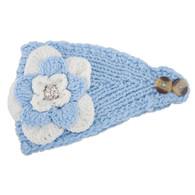 Carolina Blue & White Crochet Flower Headwrap