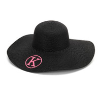 Black Embroidered Adult Floppy Sun Hat