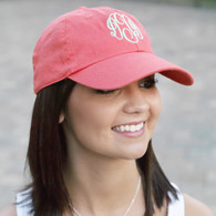 Embroidered Coral Twill Cotton Cap