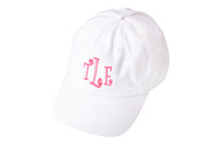Monogram White Cotton Twill Cap
