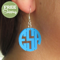 Engraved Acrylic Circle Monogram Earrings - FREE Shipping