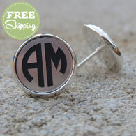 Circle Monogram Engraved Earrings - FREE Shipping