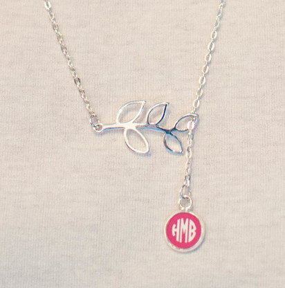 Silver Branch Engraved Circle Monogram Necklace