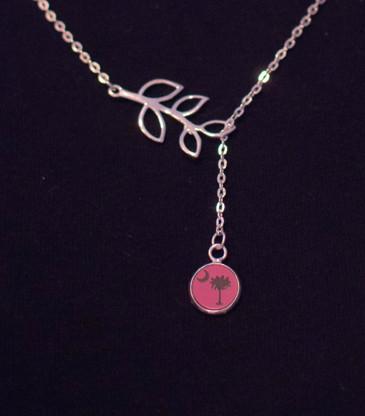 Silver Branch Engraved Coastal Life Icon Necklace