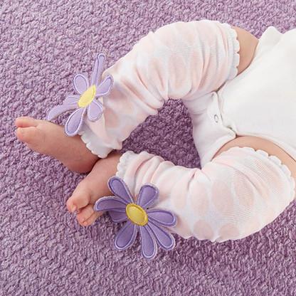 """Bloomin'"" Flowers & Polka Dots Baby Leg Warmers (0-12 Months)"