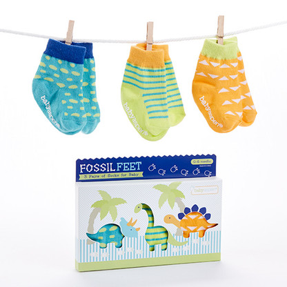 Fossil Feet - 3 Pairs of Dinosaur Baby Socks (Size 0-6 Months)