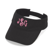 Monogrammed Black Cotton Twill Visor