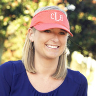Coral Cotton Twill Visor with Embroidered Monogram