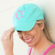 Mint Cotton Twill Cap with Embroidered Monogram
