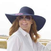 Navy Blue Floppy Beach Hat with Embroidered Monogram