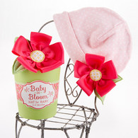 """Baby in Bloom"" Pink Flower Baby Girl Hat"