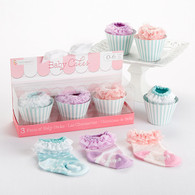 """Baby Cakes"" 3 Pair Cupcake Design Baby Socks Gift Set"