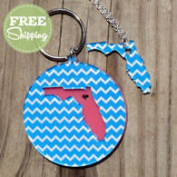 "Chevron ""State Love"" Necklace & Keychain Set"