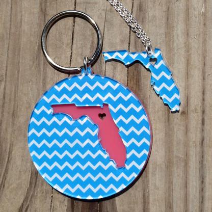 """State Love"" Chevron Necklace & Keychain Set"