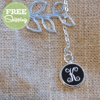 Silver Branch Necklace with Engraved Vine Monogram Pendant - FREE Shipping