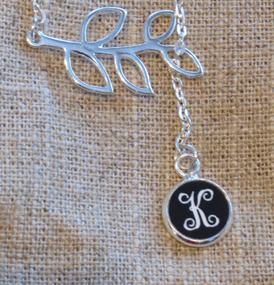 Silver Branch Necklace with Engraved Monogram Pendant - Vine