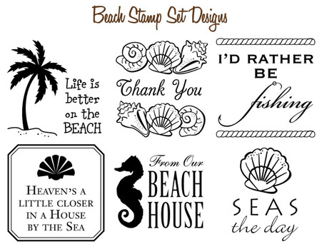 Set of 6 Mix & Match Coastal Beach Stamp Designs
