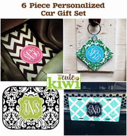 6 Piece Personalized Car Gift Set - Front Mats, Rear Mats, Car Tag & Square Key Chain