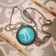 Vintage Antique Bronze Monogram Necklace in Blue