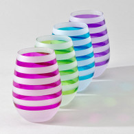 Set of 8 Banda Stemless Glasses with Colorful Stripes