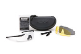 Kit contains 1 black frame, a clear, a yellow, and a smoke gray lens, hard carrying case, neck leash, and cleaning cloth