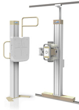 "The tube stand has vertical travel from 20"" (for standing knees or pediatrics) to 76"" (for tall cervical spines) from floor with 15 and 30 degree mechanical locks.    The 17 x 17 TFT panel has 40kW output and the detector can rotate 180 degrees."