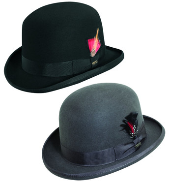 Derby Hat Bowler Hat Scala Wool Black Charcoal Gray