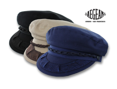 Aegean Cotton Greek Fisherman Cap black tan blue