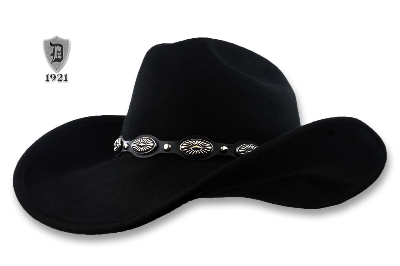 8fa9fe67461 Scala Black Wool Felt Cowboy Hat, Western Concho Studs Band. Loading zoom