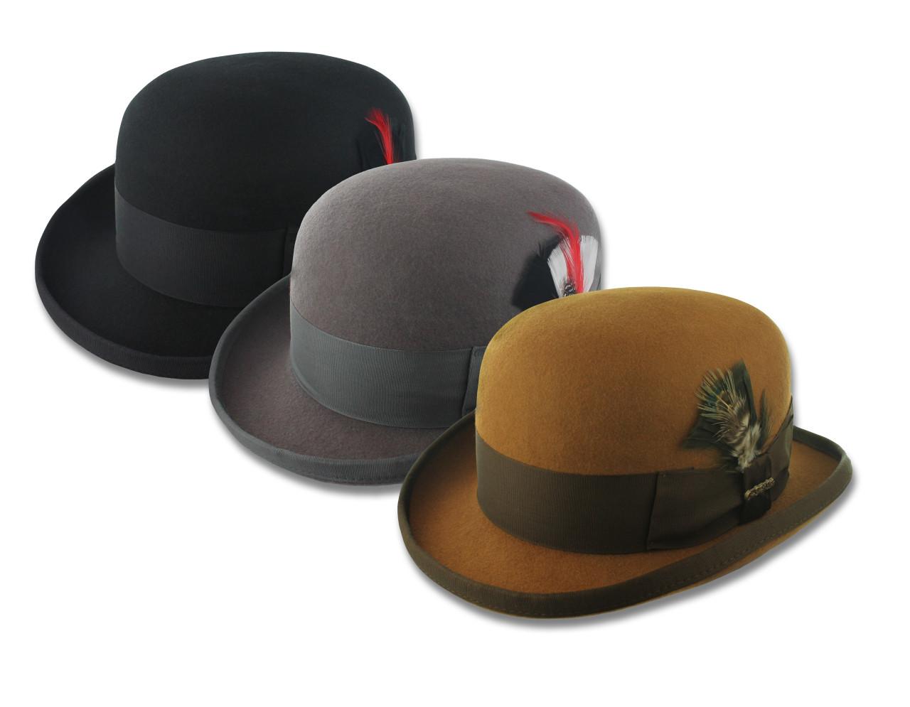 5ae4b31470c 100% Wool Felt Bowler Hat, Mens Derby, Black, Charcoal Gray, Cognac. Loading  zoom