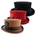 100% Wool Felt Coachman Top Hat, Mens Size Tophat, Steampunk, Topper, Tuxedo, Victorian - Black, Cognac, Red