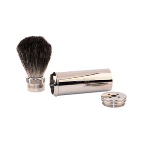 Edwin Jagger Pure Badger Travel Shaving Brush - Nickel Plated