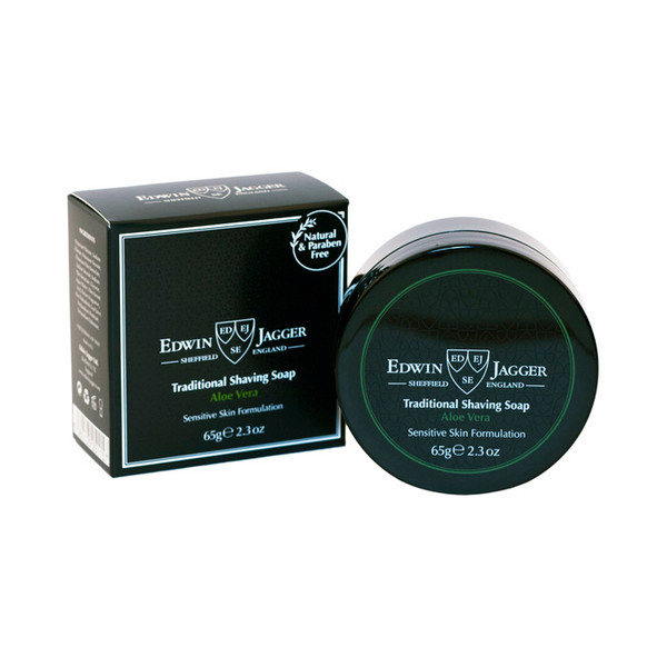 Edwin Jagger Traditional Shaving Soap Aloe Vera 65g - Travel container