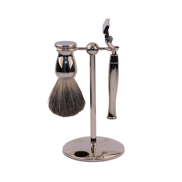Edwin Jagger Set - Shaving Brush, Mach3 Razor, Stand - Nickel Plated