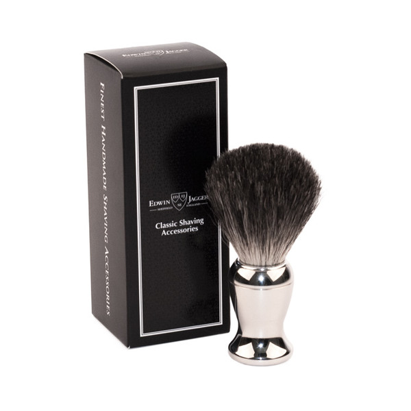Edwin Jagger Pure Badger Shaving Brush - Nickel Plated