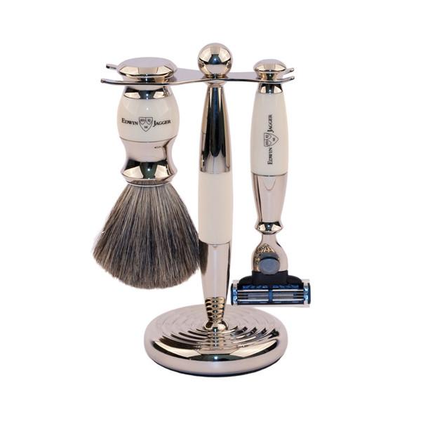Edwin Jagger Luxurious Set - Shaving Brush, Mach3 Razor, Stand - Ivory