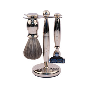 Edwin Jagger Luxurious Set - Shaving Brush, Mach3 Razor, Stand -Nickel
