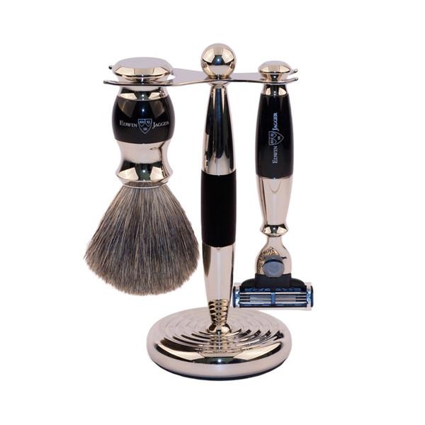 Edwin Jagger Luxurious Set - Shaving Brush, Mach3 Razor, Stand - Ebony