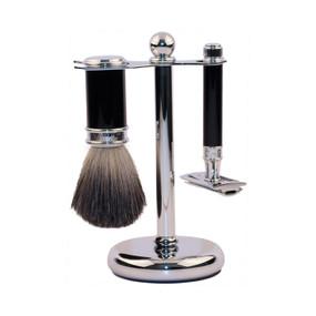 Edwin Jagger 3 Piece Set - Pure Badger Shaving Brush and DE Razor with Stand - Ebony & Chrome