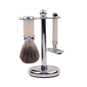 Edwin Jagger 3 Piece Set - Pure Badger Shaving Brush and DE Razor with Stand - Ivory & Chrome